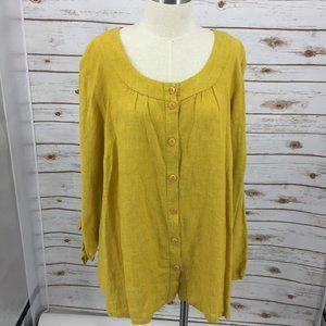 FLAX poet blouse linen top Boho mustard gold plus
